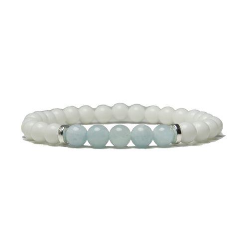Yogaarmband - Harmony stone (akvamarin). Akvamarin är en sten som får känslor som sympati, tillit, harmoni, mod och vänskap att uppstå. #akvamarin #armband #yogaarmband #energiarmband #mykarma #Satnamyogajewelry