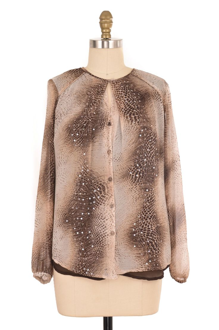 Jones New York Brown Snake Skin Print Blouse Size 4 | ClosetDash #jonesny #brown #snake #skin #print #blouse #top #shirt #fashion #style #bottomlesscloset #shopforacause