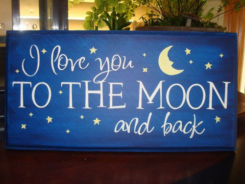 I Love You To The Moon And Back Chic Wood Sign Plaque