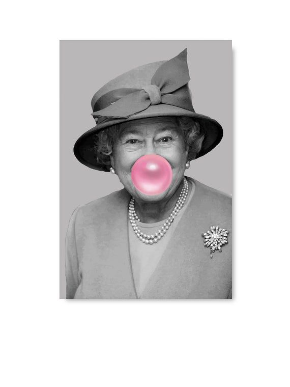 The Queen Elizabeth Bubble Gum Photo Picture Print On Framed Canvas Wall Art