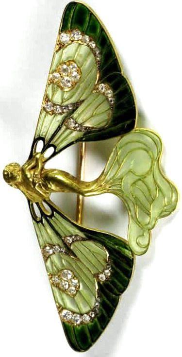 Lalique ~ 1898 signed 'Butterfly Nymph' Brooch: 18K gold/ enamel/ diamonds