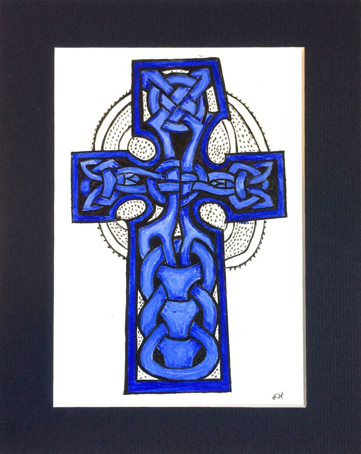 Blue Celtic Cross, (Gaut's Cross, Isle of Man), matted, Scandinavian Celtic…