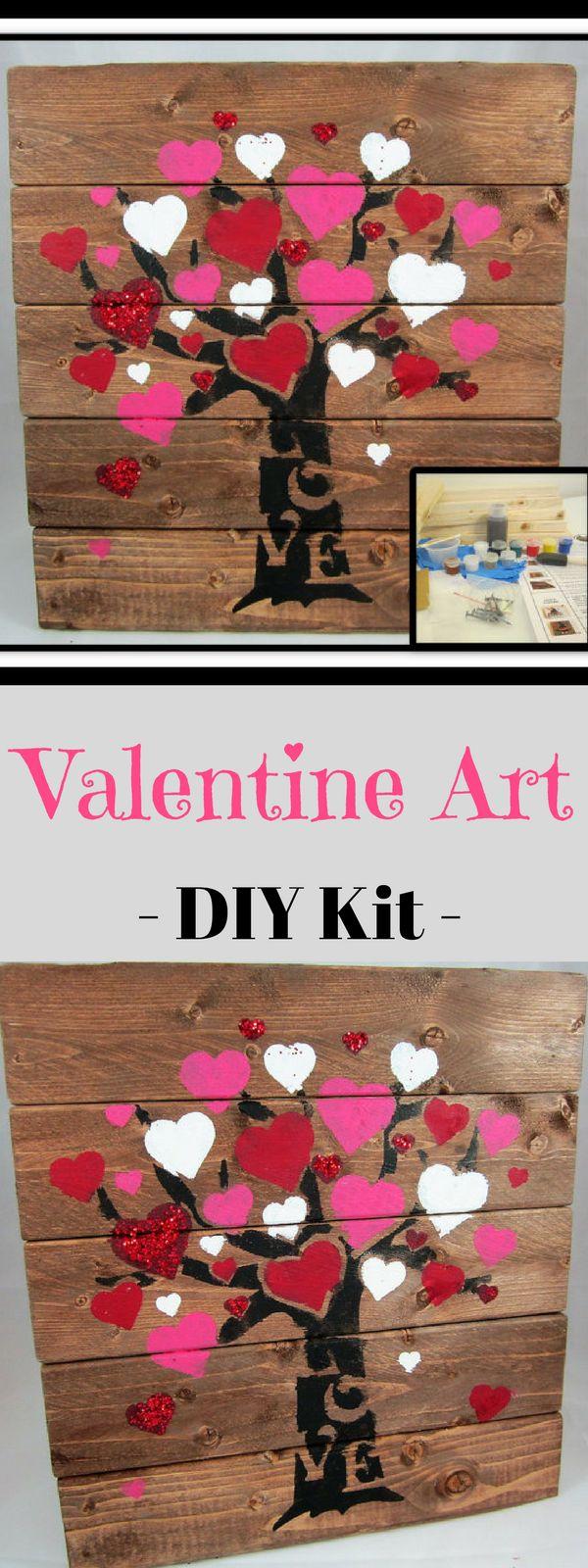 DIY Craft Kit - DIY Valentine Craft - Love Tree Board Sign Craft Kit - Make your own Wood Sign Decoration: Heart Tree - Valentines #ad #gift #craft #DIY #valentine #de cor #love