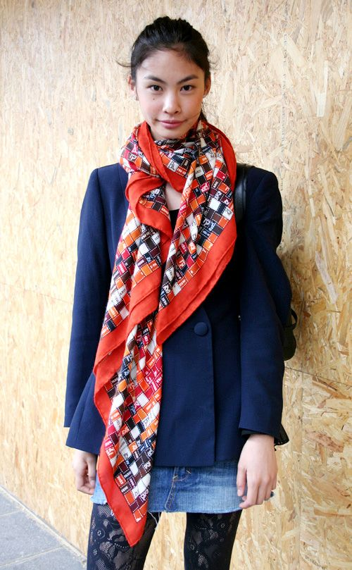 simple way to wear a silk scarf