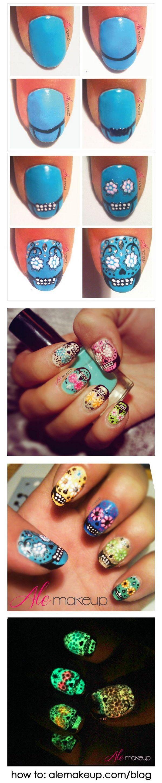 Sugar Skulls Nail Design.