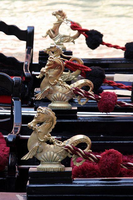 "Gondola, Venice - The decorative Cavalli often take the horse, or ""hippocampus"" form."
