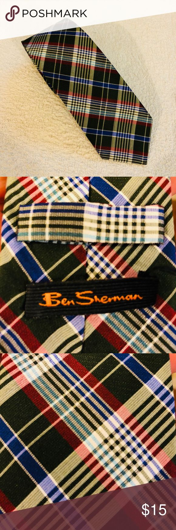 Ben Sherman Olive, White, Blue & Red Plaid Tie Ben Sherman Olive Green, White, Blue and Red Plaid Skinny Modern Slim Silk Necktie! Great condition! Please make reasonable offers and bundle! Ask questions! Ben Sherman Accessories Ties