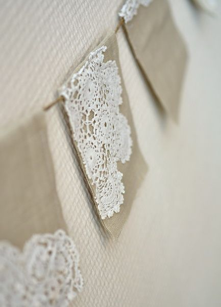 Linen and doilies - banner - can acheive a similar look with paper doilies if necessary @Amanda Norris this reminded me of you