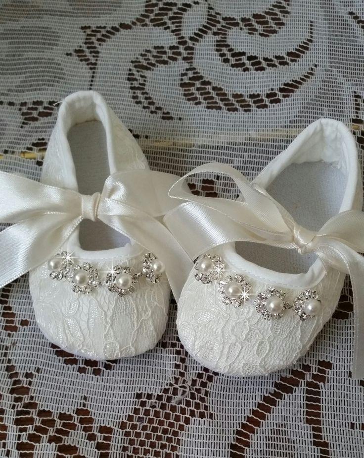 Zapatos de cuna de Marfil bebé bautizo zapatos zapatos de