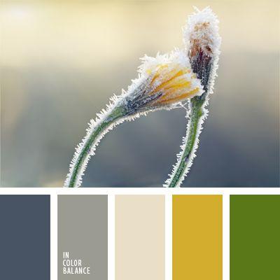 amarillo y verde, color amarillo sucio, color azul escarcha, combinación de colores, elección del color, gris oscuro, gris oscuro y amarillo, gris pálido, gris y verde, paleta de colores, paleta de invierno, selección de colores, tonos grises.