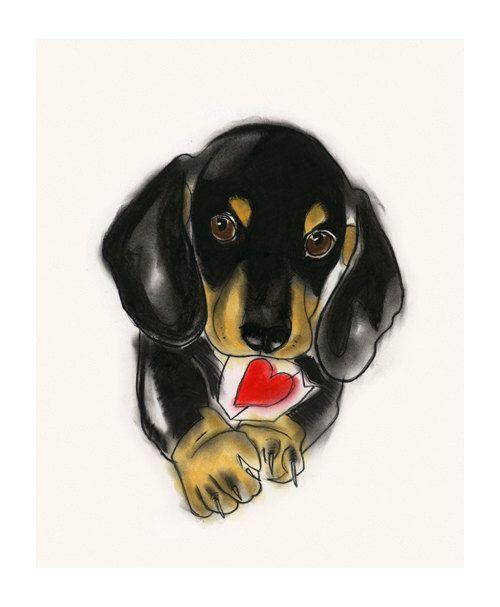 """Día Dachshund perro - perro salchicha - Doxie perro arte de San Valentín dibujo impresión 4 """"X 6"""" grabado - 4 3 en venta de matouenpeluche en Etsy https://www.etsy.com/es/listing/205974111/dia-dachshund-perro-perro-salchicha"""