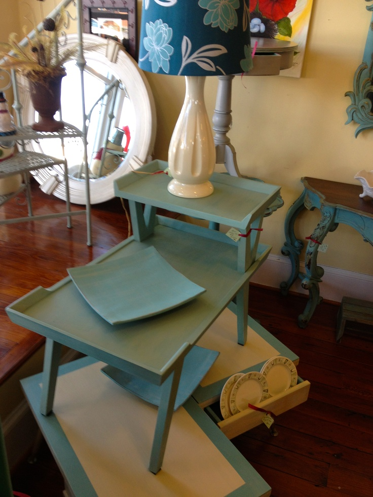 Mid-century inspired end tables. Painted in Annie Sloan