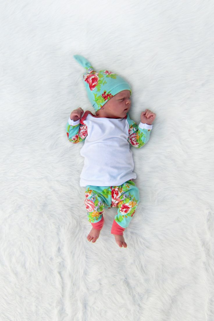 Newborn Girl Coming Home Outfit Floral Baby by brambleandbough