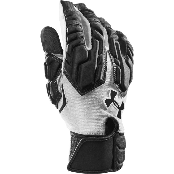 Under Armour Combat III Padded Football Glove - Black  and White.  Designed for the big guys battling in the trenches, the Under Armour(r) Combat III Football Gloves can handle your toughest opponents day in and day out. These full-finger padded lineman gloves feature custom-molded finger padding to provide an ideal balance of protection, comfort and flexibility. Lightweight and breathable ArmourMesh construction on the back of the hand offers ventilation and moisture-wicking benefits.