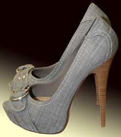 Camas Denim Buckle High Heel Pump in Grey Denim by Paprika