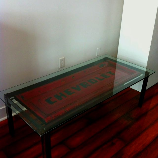 Table made from old Chevy tailgate David Hebert Art