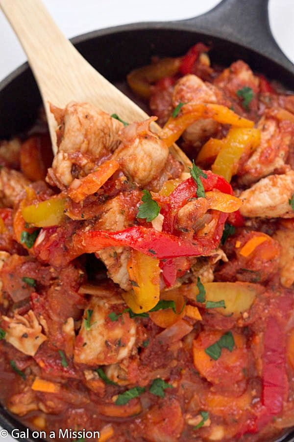 One-Pan Chicken Cacciatore Recipe - A flavorful tomato-based sauce with diced chicken breasts, bell peppers, onions, carrots, and the best spices!