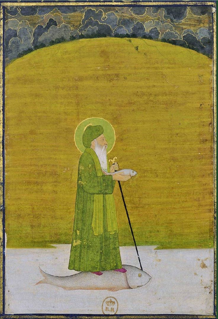 KHIDR - 1760 - Bibliothèque Nationale de France - known in India as Khawaja Khidr, a river spirit dressed in green, riding upon a fish, and presiding over the well of immortality. In Sufi tradition Khidr is the hidden initiator of those who travel the mystical path.