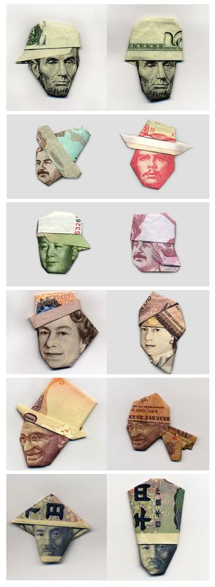 Using Origami And World Currency To Make Hats For Gandhi, Lincoln, And Che