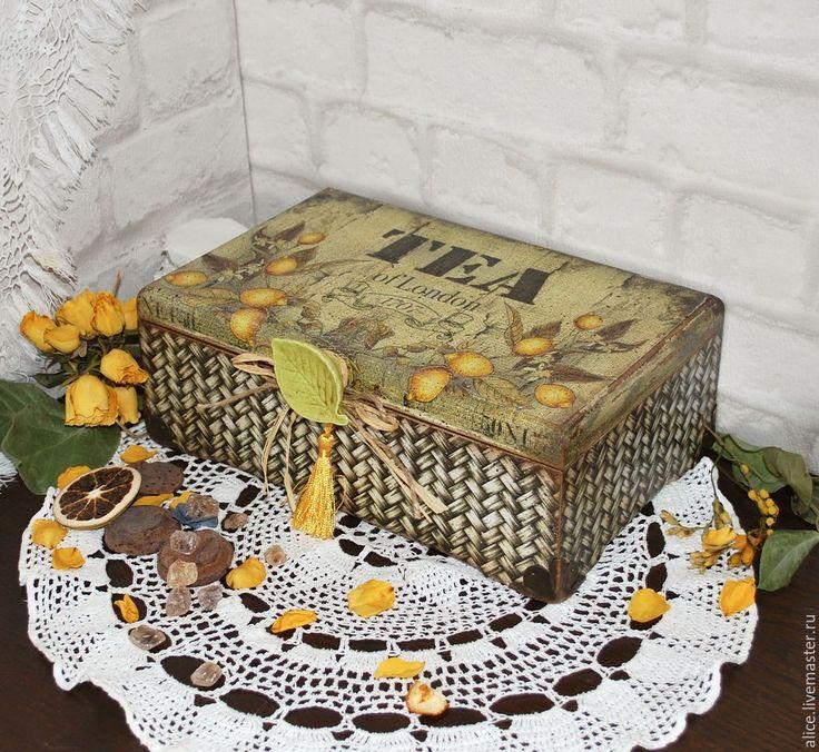 """Купить """"БЕРГАМОТ"""" короб для чая - лимонный, лимон, бергамот, чай, чайная коробка, чайная шкатулка"""