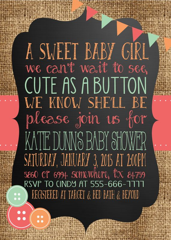 Any Color CUTE As A BUTTON Burlap Chalkboard Baby Shower Pink Yellow Turquoise Coral Sprinkle Blue Chevron BIrthday 1st 2nd 3rd Invitation vintage coral mint peach