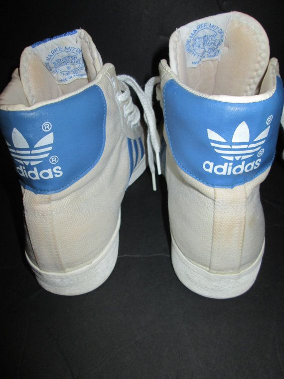 9709b3361b12 vintage 80s adidas High Top Sneakers Basketball Shoes Canvas Mens 8 Super  Rare Made in Taiwan
