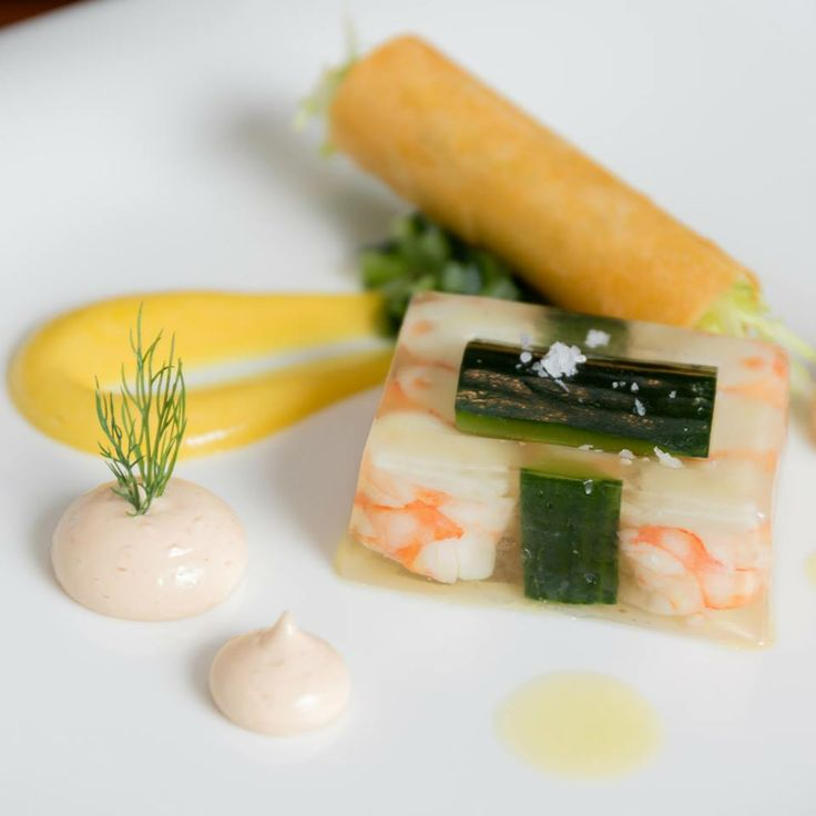 Prawn Cocktail entree with king prawn and cucumber terrine, preserved lemon and marie rose.