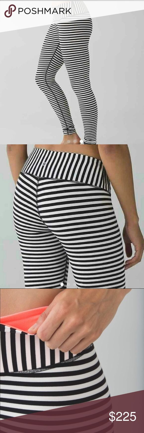 NWT Lululemon Narrow Stripes Bold Angel Wing Narrow Stripes Bold Angel Wing Wunder Under Pants with Grapefruit pink interior waistband.  Brand new With Tags! Perfect Christmas gift! Size 4 lululemon athletica Pants Leggings