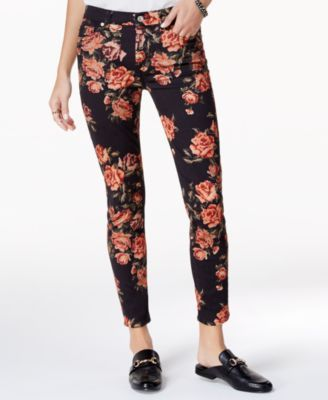 7 For All Mankind Needlepoint-Print Skinny Jeans - Black 29