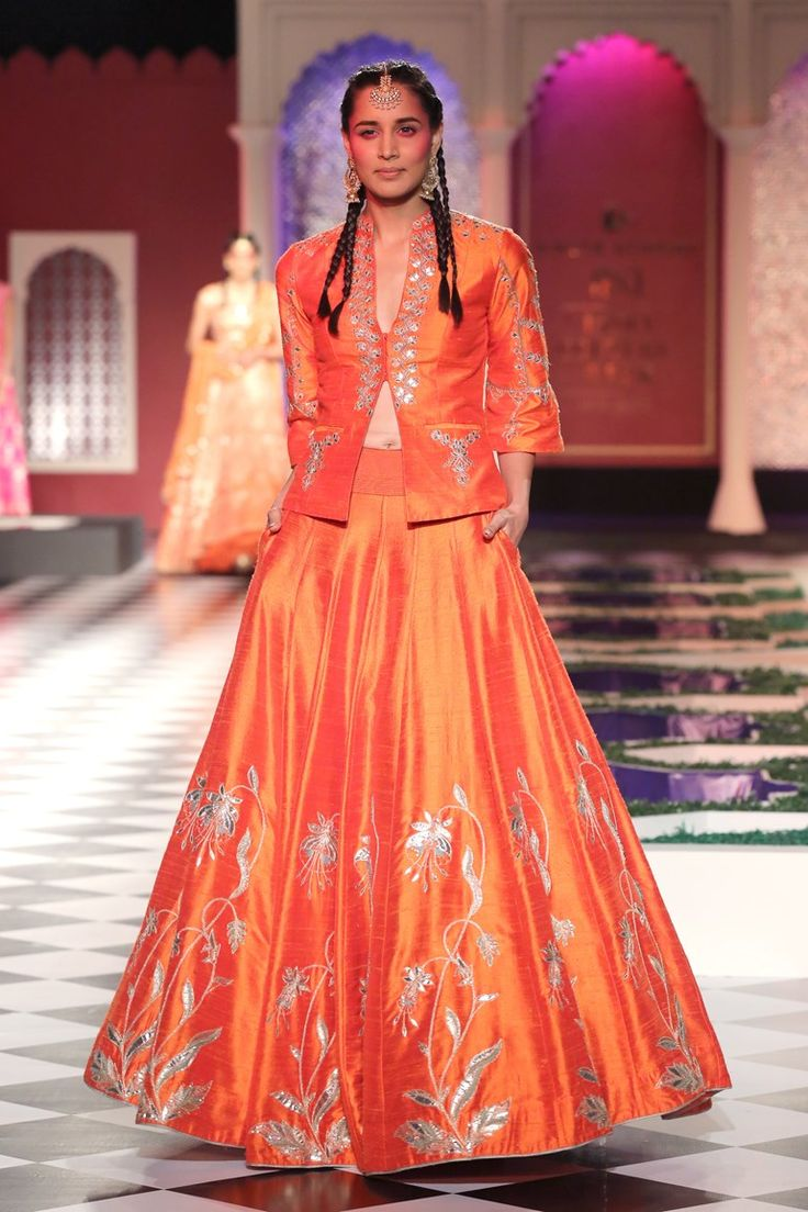orange jacket and lengha skirt | anita dongre | indian couture fashion