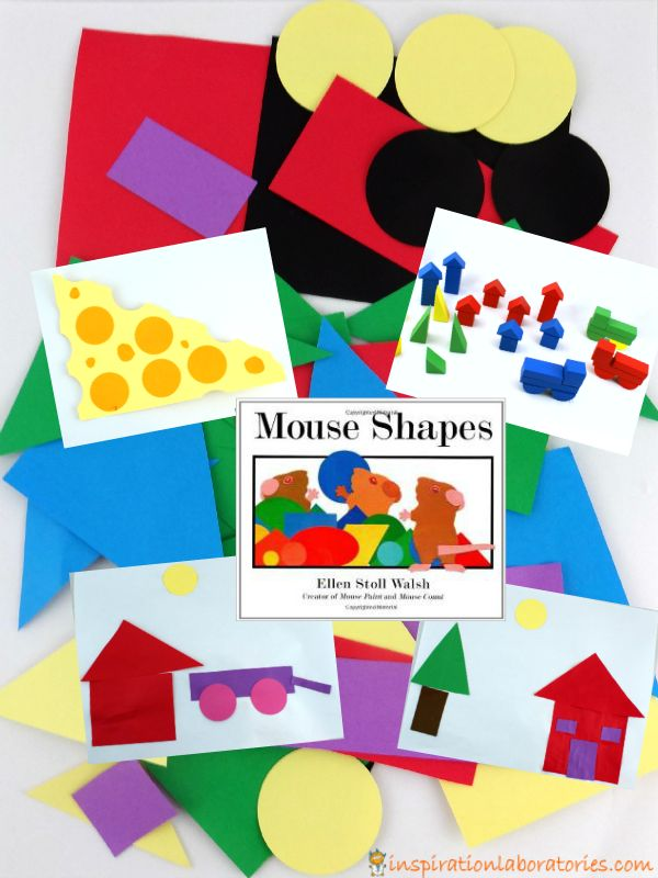 After reading Mouse Shapes by Ellen Stoll Walsh, make shape collages and build block scenes. Such a fun way to learn about shapes!