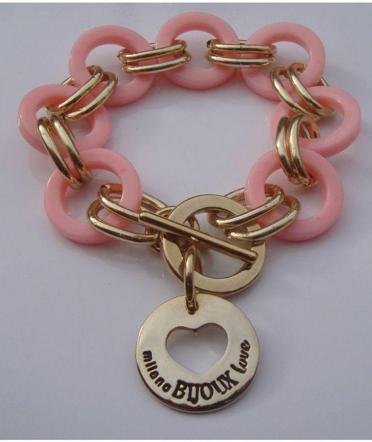 Bracciale donna rosa Milano Bijoux Love in policarbonato BR1424
