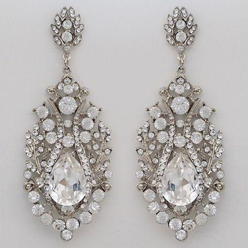 Vintage Hollywood Glam Chandelier Earrings, Spectacular Crystal Wedding & Bridal Earrings