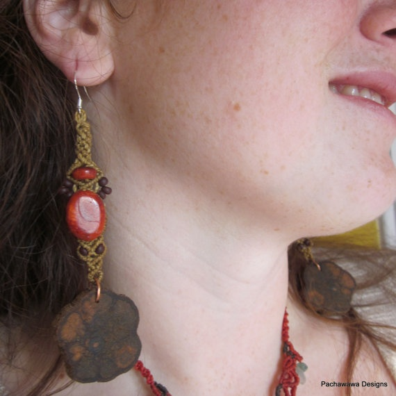Red Coral Ayahuasca Vine Earrings by pachawawa on Etsy, $35.00