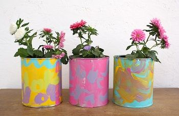 Simple (but sweet) flower pots made out of soup cans.