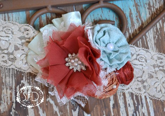 A little shabby chic for fall time... Rust and Aqua Hair Accessory Headband or Hair by SweetFaithDesigns, $15.50