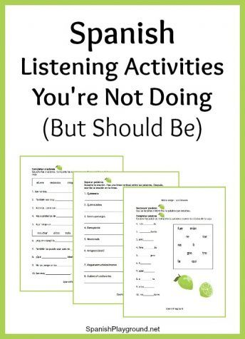 Spanish listening activities to focus on syllables, words and sentences before a larger listening task.