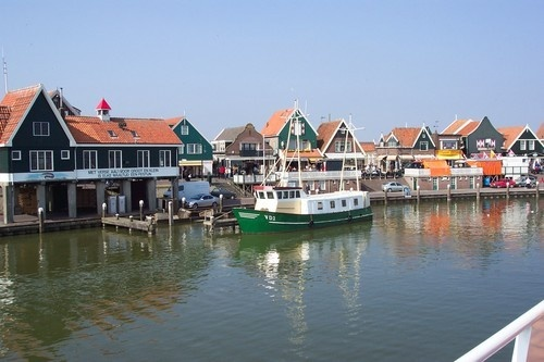 View of the harbor in Volendam, Holland