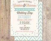 Rústico Vintage menta durazno ciruela verde azulado boda invitación imprimible o las tarjetas impresas profesionalmente