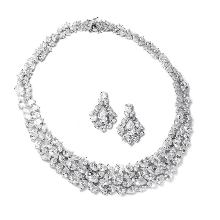 Genuine Cubic Zirconia Necklace and Earring Set $320  http://www.glitterella.ca