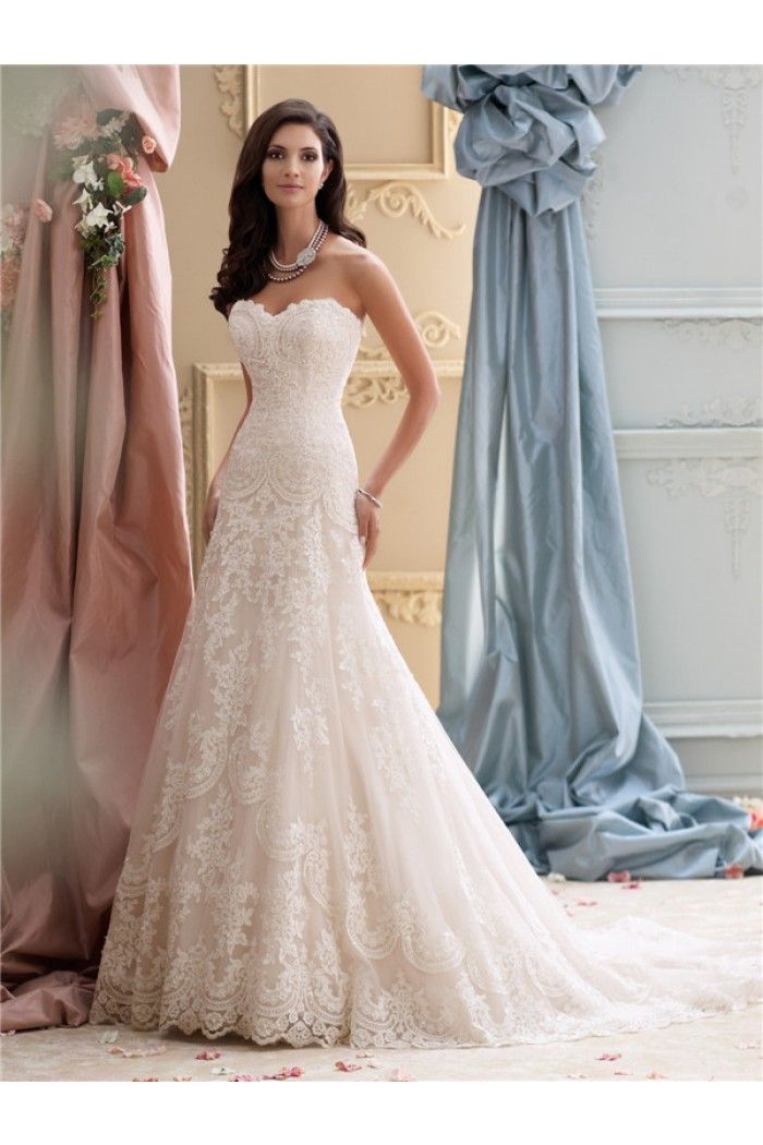 Glamour a line strapless vintage lace wedding dress court for Vintage lace wedding dress pinterest