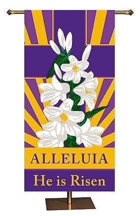 He Has Risen Easter Banner Church Or Chapel Alleluia He Is Risen Display on Easter Sunday. Can be easily assembled on standard banner pole Exclusive designs Double stitched hem Wipe clean easily Vent