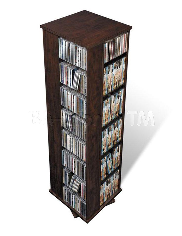 Cd Dvd Rack Part - 36: CD U0026 DVD Media Storage: Prepac Large 4-Sided CD DVD Spinning Media Storage