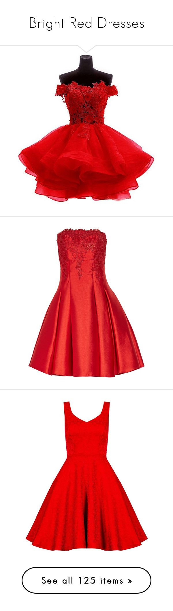 """Bright Red Dresses"" by tegan-b-riley on Polyvore featuring dresses, off the shoulder cocktail dress, lace homecoming dresses, lace dress, red lace cocktail dress, lace cocktail dresses, red, red mini dress, short lace dress and red dress"