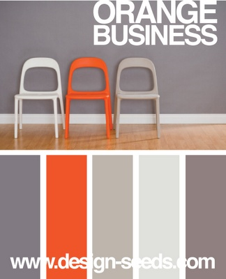 Color scheme for Ryan's office #Orange #Grey - new color scheme for my living room! family room...