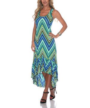 Cue the color! This slinky dress gets a boost of brightness with zigzag stripes from top to bottom, while an ankle-skimming cut keeps the look playfully stylish.