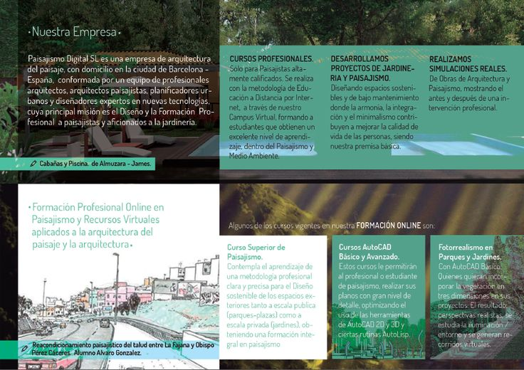 Inside pages for a Digital Landscape Course webpage brochure. Exposed at Iberflora 2014, Spain.