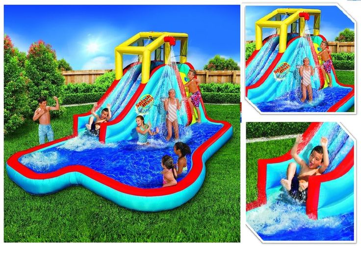 """Commercial Inflatable Water Slide Jumper Bouncer Splash Park House Swimming Pool (Nearly 8ft Tall and Includes Blower Motor). 15'4""""L x 9'6""""W x 7'11""""H inflatable water slide. Suit up and get drenched on the Slide 'N Soak Splash Park!   eBay!"""