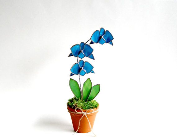 Blue Glass Orchid Suncatcher Popsicle Blue Stained by GalaGardens, $46.50