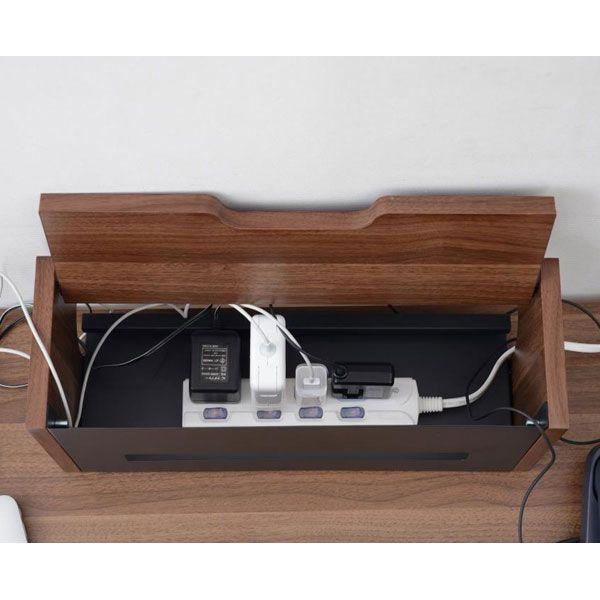 壁にピッタリつけられるツートンカラーのコード収納ボックス ロータイプ(黒×ブラウン SBK)